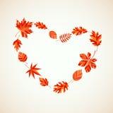 Corazón de las hojas de otoño Fotos de archivo