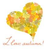 Corazón de las hojas de otoño Fotografía de archivo