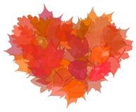 Corazón de las hojas de otoño en el fondo blanco Fotos de archivo