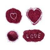 Corazón de las lentejuelas aisladas en el fondo blanco Fotos de archivo