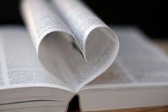 Corazón de las paginaciones del libro Fotografía de archivo libre de regalías