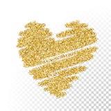 Corazón de las partículas del brillo del oro del vector ilustración del vector