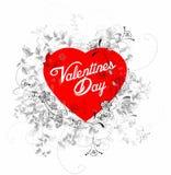 Corazón de las tarjetas del día de San Valentín con las flores Imagen de archivo