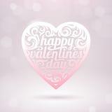 Corazón de las tarjetas del día de San Valentín con los días de fiesta que saludan ilustración del vector