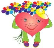 Corazón de las tarjetas del día de San Valentín con un ramo brillante Imagen de archivo libre de regalías