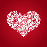 Corazón de las tarjetas del día de San Valentín de los objetos blancos Imagen de archivo libre de regalías
