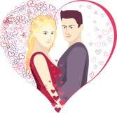 Corazón de las tarjetas del día de San Valentín del ejemplo del vector Imagen de archivo libre de regalías