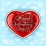 Corazón de las tarjetas del día de San Valentín en fondo azul stock de ilustración