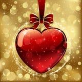 Corazón de las tarjetas del día de San Valentín en fondo de oro libre illustration