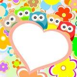 Corazón de los buhos, de las flores y de las tarjetas del día de San Valentín en marco Fotografía de archivo libre de regalías