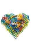Corazón de los clips de papel Foto de archivo