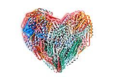 Corazón de los clips de papel Imagen de archivo
