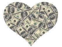 Corazón de los dólares Fotos de archivo