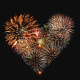 Corazón de los fuegos artificiales Fotografía de archivo
