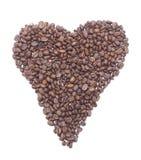 Corazón de los granos de café. imagenes de archivo