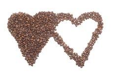 Corazón de los granos de café. foto de archivo