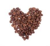 Corazón de los granos de café Foto de archivo libre de regalías