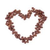 Corazón de los granos de café Imagen de archivo
