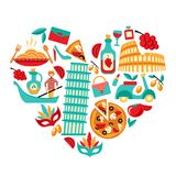 Corazón de los iconos de Italia Fotos de archivo