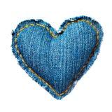 Corazón de los pantalones vaqueros de la tarjeta del día de San Valentín Imagen de archivo libre de regalías