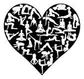 Corazón de los pilates de la yoga Imagen de archivo