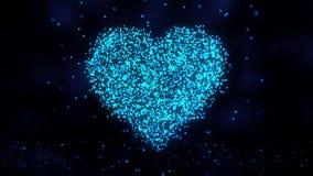 Corazón de los puntos azules Animación de la tecnología de la formación del punto del corazón ilustración del vector