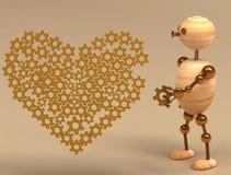 Corazón de madera del mecánico del hombre Fotos de archivo libres de regalías