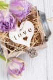 Corazón de madera en caja de regalo del vintage con los tulipanes dominantes y púrpuras Foto de archivo libre de regalías