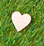 Corazón de madera en hierba verde con el copyspace Fotos de archivo libres de regalías