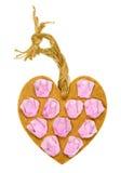 Corazón de madera hecho a mano adornado con las rosas de papel Fotografía de archivo