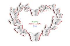 Corazón de mariposas en fondo rojo y blanco ilustración del vector