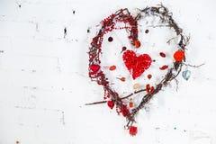 Corazón de mimbre Fotografía de archivo libre de regalías