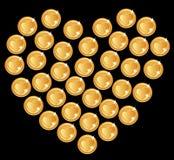 Corazón de monedas Foto de archivo