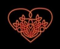 Corazón de neón en de estilo celta Imagen de archivo libre de regalías