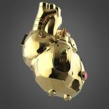 Corazón de oro brillante del techno del cyborg con los detalles de oro brillantes y los indicadores de cristal coloreados, ilustración del vector