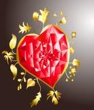 Corazón de oro con el rubí Imagenes de archivo