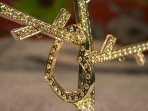 Corazón de oro con los diamantes en el árbol del diamante Fotos de archivo