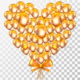 Corazón de oro del amor del globo en fondo transparente Foto de archivo libre de regalías