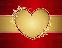 Corazón de oro floral del amor Foto de archivo libre de regalías