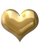 Corazón de oro hinchado Foto de archivo libre de regalías