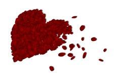 Corazón de pétalos color de rosa Fotografía de archivo libre de regalías