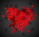 Corazón de pétalos color de rosa Imagen de archivo libre de regalías