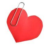 Corazón de papel con el clip fotos de archivo libres de regalías