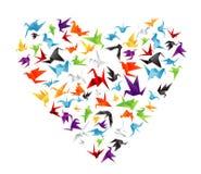 Corazón de papel del pájaro Foto de archivo