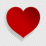 Corazón de papel rojo en fondo transparente Fotos de archivo libres de regalías