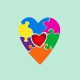 Corazón de rompecabezas del color Fotos de archivo libres de regalías