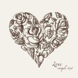 Corazón de rosas stock de ilustración