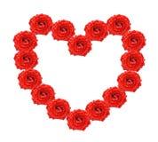 Corazón de rosas rojas Fotos de archivo