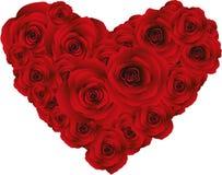 Corazón de rosas rojas, vector Fotografía de archivo