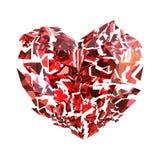 Corazón de rubíes rojo roto aislado Foto de archivo